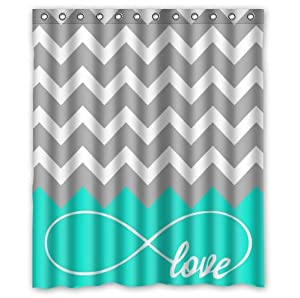 Love infinity forever love symbol chevron pattern for Teal and grey bathroom sets