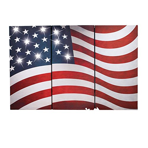 LED Lighted American Flag Canvas Set - 3 pc (Bbq Canvas Art compare prices)
