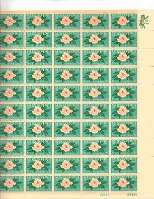 Mississippi Magnolia Sheet of 50 x 5 Cent US Postage Stamps NEW Scot 1337