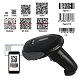 NYEAR Handheld wireless and Wired two in one Bluetooth 4.0 & USB Barcode Scanner, 2D &1D &PTF 417 Handheld Inventory Laser Bar Code Reader for Computer ipad iphone Android windows with USB Cable (Color: black)