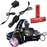 WindFire® 2000 Lumens CREE XM-L T6 U2 LED 3 Modes Outdoor Sport Headlamp 18650 Rechargeable Battery Head Light Torch Flashlight with AC Charger Car Charger and 2 X WindFire 4000mah Rechargeable battery for Hiking, Riding, Camping, Climbing, Hunting