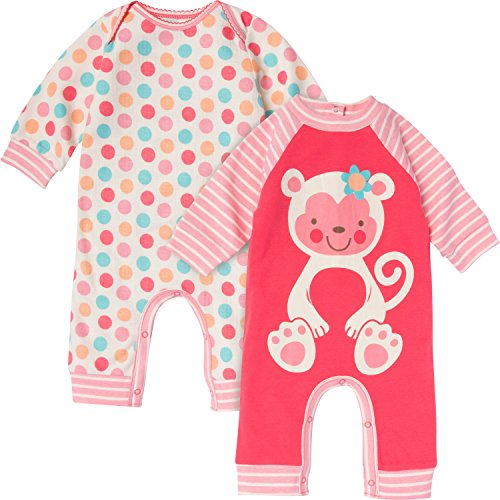 Gerber Baby-Girls Newborn Monkey 2 Pack Coverall, Monkey, 3-6 Months