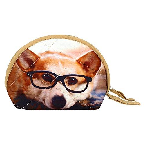 Digital Dog grafica del cinturino dell'orologio Borsa - Adorabile stampa all-over - trapuntato in poliestere Dupion Faux Seta - 8 x 6 x 2,5 pollici