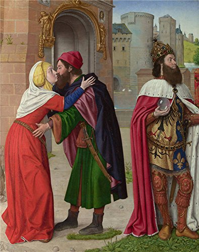'Master Of Moulins (Jean Hey) Charlemagne And The Meeting At The Golden Gate ' Oil Painting, 8 X 10 Inch / 20 X 26 Cm ,printed On High Quality Polyster Canvas ,this Amazing Art Decorative Prints On Canvas Is Perfectly Suitalbe For Bedroom Artwork And Home Artwork And Gifts