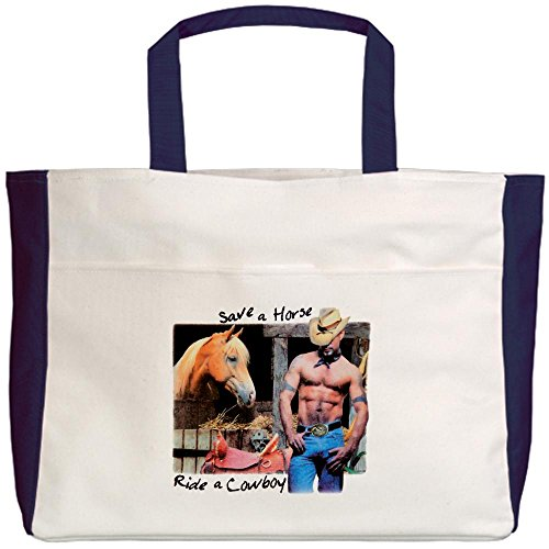 Royal Lion Beach Tote (2-Sided) Country Western Cowgirl Save A Horse
