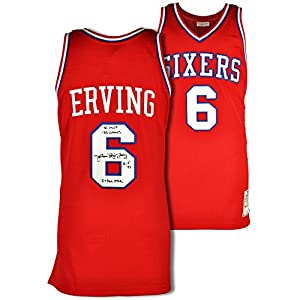 Julius Erving Philadelphia 76ers Autographed Authentic Red Jersey with Multiple...