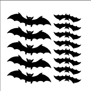 13 Bats Decals Stickers Halloween Removable Wall Art, BLACK