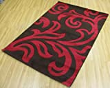 Florence Shaggy Rug Carpet 95 Chocolate & Red 80cm x 150cm (2ft 6