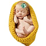 Handmade Newborn Baby Photo Photography Props Crochet Knitted Girl Boy Cradle Style Clothes Outfits 0-12 Months Yellow
