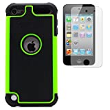 BZ Gadget Hybrid Armor Defender Case Cover & Clear Screen Protector for Apple iPod Touch 5G 5th Generation (Green)
