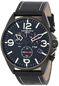 """Torgoen Swiss Men's T16101 """"Aviation"""" Stainless Steel Watch with Black Italian Leather Band"""