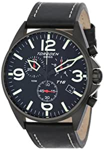 "Torgoen Swiss Men's T16101 ""Aviation"" Stainless Steel Watch with Black Italian Leather Band"