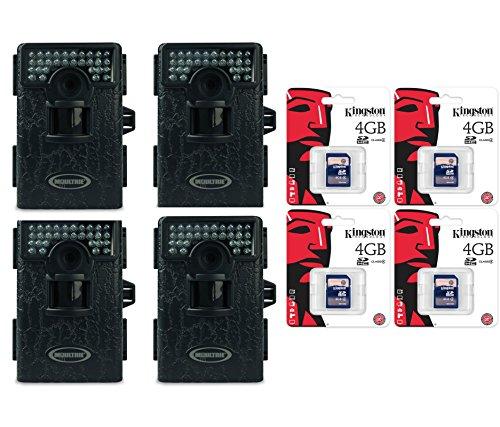4 Moultrie Game Spy Mini M-80Xt Black Infrared Digital Trail Cameras + Sd Cards