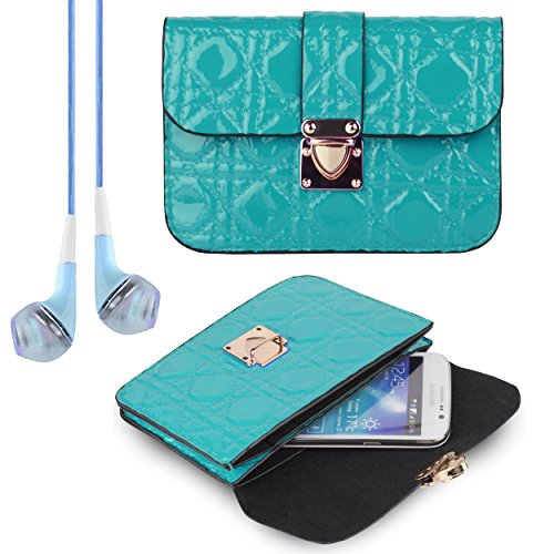 Women's Teal Quilted Clutch Carry Case for Samsung Galaxy S6 / S6 Edge / Note 4 / Note Edge + VanGod..