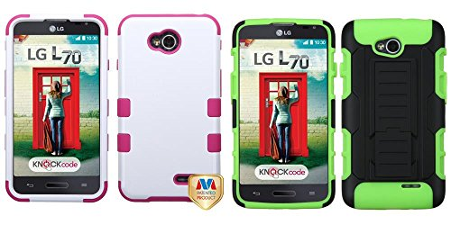Combo Pack Mybat Ivory White/Hot Pink Tuff Hybrid Phone Protector Cover For Lg Ms323 (Optimus L70) Lg Vs450Pp (Optimus Exceed 2) And Asmyna Black/Electric Green Car Armor Stand Protector Cover (Rubberized) For Lg Ms323 (Optimus L70) Lg Vs450Pp (Optimus Ex