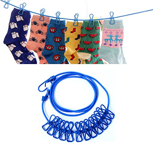Daixers Portable Travel Outdoor Windproof Clothesline with 12 Clips (Blue) (Inside Clothes Dryer Rack compare prices)