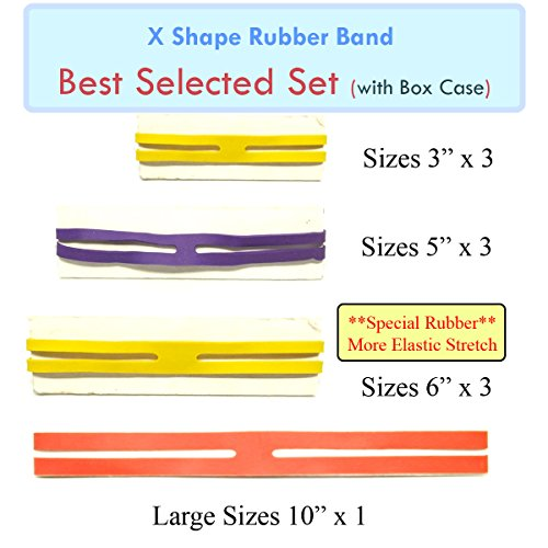 MOF X Rubber Bands X Shaped Rubber Bands H Bands 'BEST Selected Set' 10 pcs Rubber X Band in Plastic Case Easy to Use (Crock Tooth Necklace compare prices)