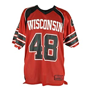 NCAA Wisconsin Badgers #48 End Zone Football Mens Jersey Shirt Red Black by Colosseum