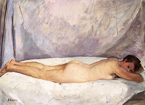 Cutler Miles Nude Woman Lying Down by Henri Lebasque Hand Painted Oil on Canvas Reproduction Wall Art. 24x18