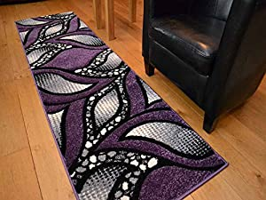 Modern Purple And Silver Quality Hand Carved Rugs. Available in 6 Sizes (66cm x 230cm) from Rugs Supermarket