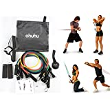 Ohuhu® Resistance Band Set, Resistance Bands Fitness Kit with 5 High-quality Stretch Tubes, Door Anchor, Ankle Strap, Exercise Chart, and Free Carrying Case - Ideal Gift for Mother's Day and Father's Day!