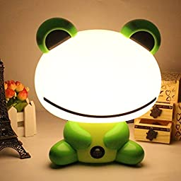 Cartoon Kids LED Beans Frog Nightlight Desk Table Lamp Night for Baby Adults Bedroom Christmas Gift (green)