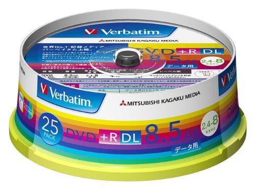 【Amazonの商品情報へ】三菱化学メディア Verbatim DVD+R DL 8.5GB 1回記録用 2.4-8倍速 スピンドルケース 25枚パック ワイド印刷対応 ホワイトレーベル DTR85HP25V1