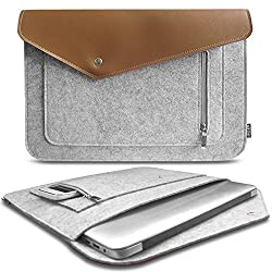 ACECOAT Lightweight Protective Felt & Leather 12.9 Inch iPad Pro / 13-13.3 Inch MacBook Air / MacBook Pro Retina / Tablet / Ultrabook Laptop Sleeve Case Pouch Bag With Pocket ( A Style,Grey)