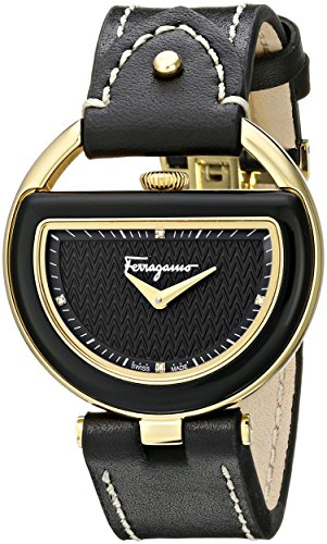 Salvatore-Ferragamo-Womens-FG5010014-Buckle-Gold-Coated-Stainless-Steel-Watch-with-Black-Leather-Band