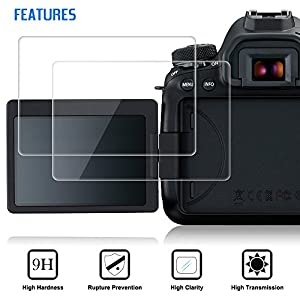 Screen Protectors Compatible Canon EOS 6D Mark II, AFUNTA 2 Packs Anti-Scratch Tempered Glass Protective Films for DSLR Digital Camera