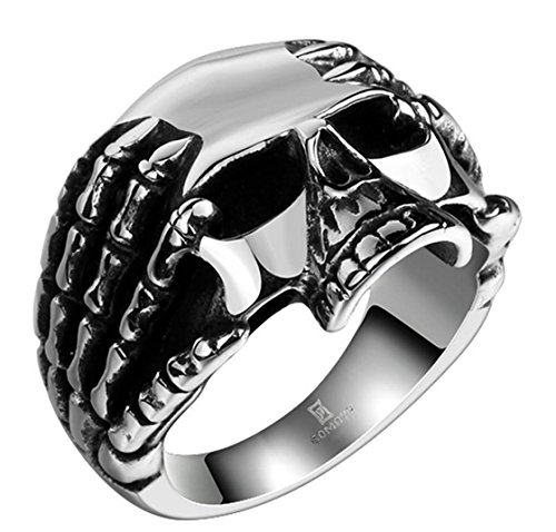 PSRINGS Stainless Steel Halle Black Steel Ring Soldier 316L Punk Dragon Claw Pentacle Ring Skull Ring 8.0