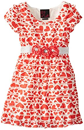 Girls Rule Little Girls' Tiered Heart Printed Dress, Coral, 2T