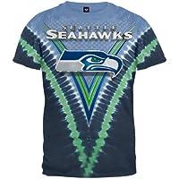 Seattle Seahawks Logo V Tie Dye T-shirt from Liquid Blue