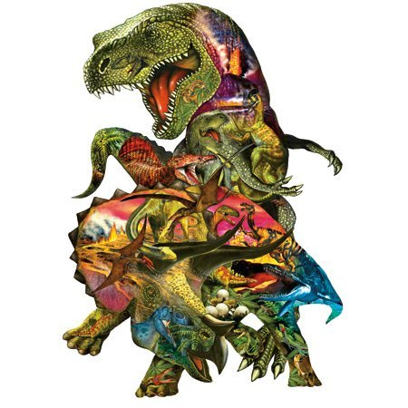 Cheap SunsOut T Rex Attack Tyrannosaurus Rex Dinosaur Shaped Jigsaw Puzzle By Sunsout #90426 (B001QJ6DP0)