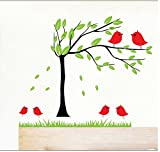 Asmi collection PVC Wall Stickers Wall Decals Beautiful Tree and Birds