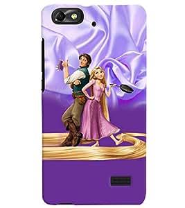 PrintVisa Cute Cartoon Couple 3D Hard Polycarbonate Designer Back Case Cover for Huawei Honor 4C