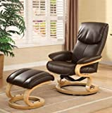 Lounge Chair with Ottoman in Brown Bonded Leather