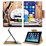 Apple iPad Air Retina Display 1st Generation Flip Case Paintbrushes watercolor gouache and paper are on wooden shelf IMAGE 19507948 by MSD Customized Premium Deluxe Pu Leather generation Accessories H