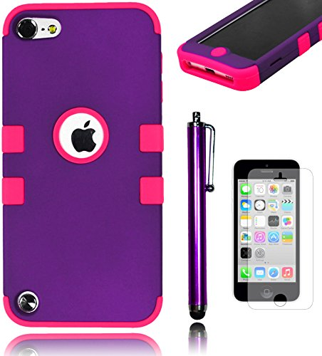 Bastex Heavy Duty Hybrid Case For Apple Ipod Touch 5 - Purple Tuff Design Cover With Soft Hot Pink Silicone Shell **Includes Screen Protector And Stylus** front-731009