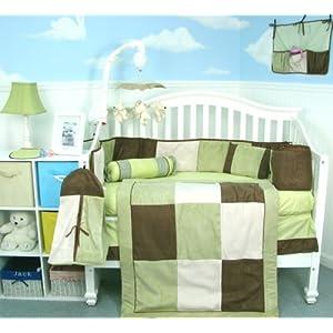 Soho Sage & Brown Suede 10 pcs Baby Crib Bedding Set