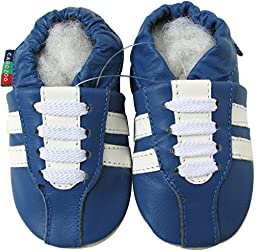 Carozoo Unisex Baby Soft Sole Leather Shoes Sneaker Blue S 0-6m