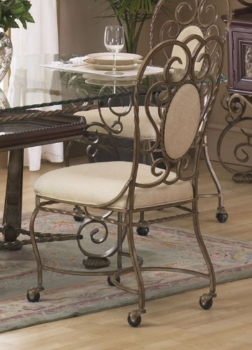 Buy Set of 2 Dining Side Chairs with Scroll Metal Frame and Casters in Antique Gold Finish B003ZK1UOM