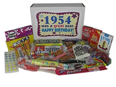 1954 Retro Nostalgic Candy Decade 62nd Birthday Gift Basket Box Jr. 50s
