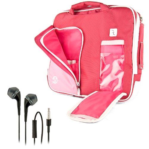 Vangoddy Pindar Sling - Candy Pink White Pro Deluxe Shoulder Messenger Carrying Bag For Apple Macbook Air 11 Inch + Black Hands-Free Earphones Headphones W/ Microphone