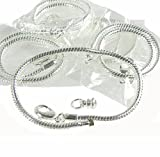New Easy Bead 5 Pack 8 Inch Snake Chain Fits Pandora Chamilia Troll Biagi Beads and Smaller 3.5mm Holes Silver Plated Brass Sold in Package of 5 Bracelet Chains