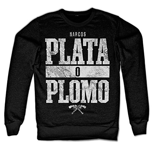 Officially Licensed Merchandise Narcos - Plata o Plomo Sweatshirt (Black), XX-Large