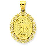 14K Satin Gold Aries Zodiac Oval Charm Pendant Jewelry