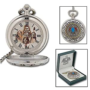 Amazon Com Native American Indian Pocket Watch Amp Chain