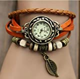 Orange Quartz Fashion Weave Wrap Around Leather Bracelet Lady Woman Wrist Watch