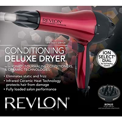 Revlon 1875 W Conditioning Deluxe Hair Dryer, Red